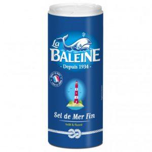 boîte verseuse 750 grammes sel fin iodé et fluoré la baleine
